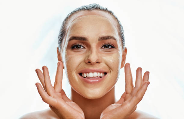 this mask will do the trick - chemical peel stock pictures, royalty-free photos & images