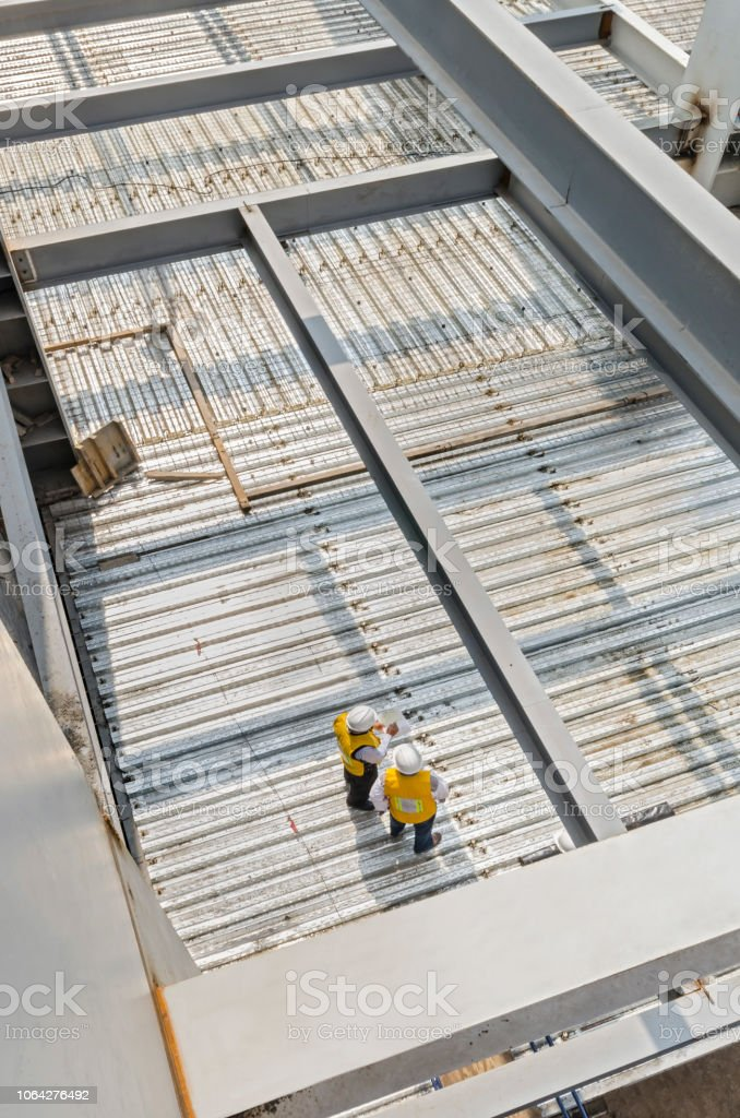 This metal platform support is used to create floors in a construction stock photo