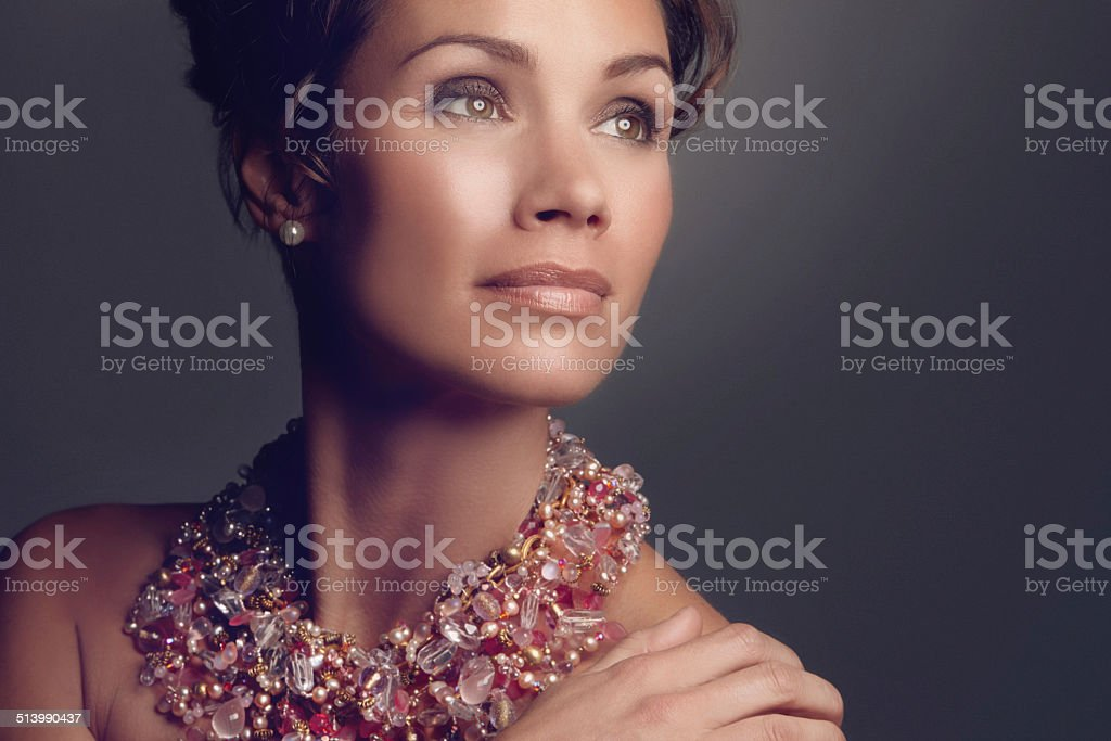 This necklace will get her noticed stock photo