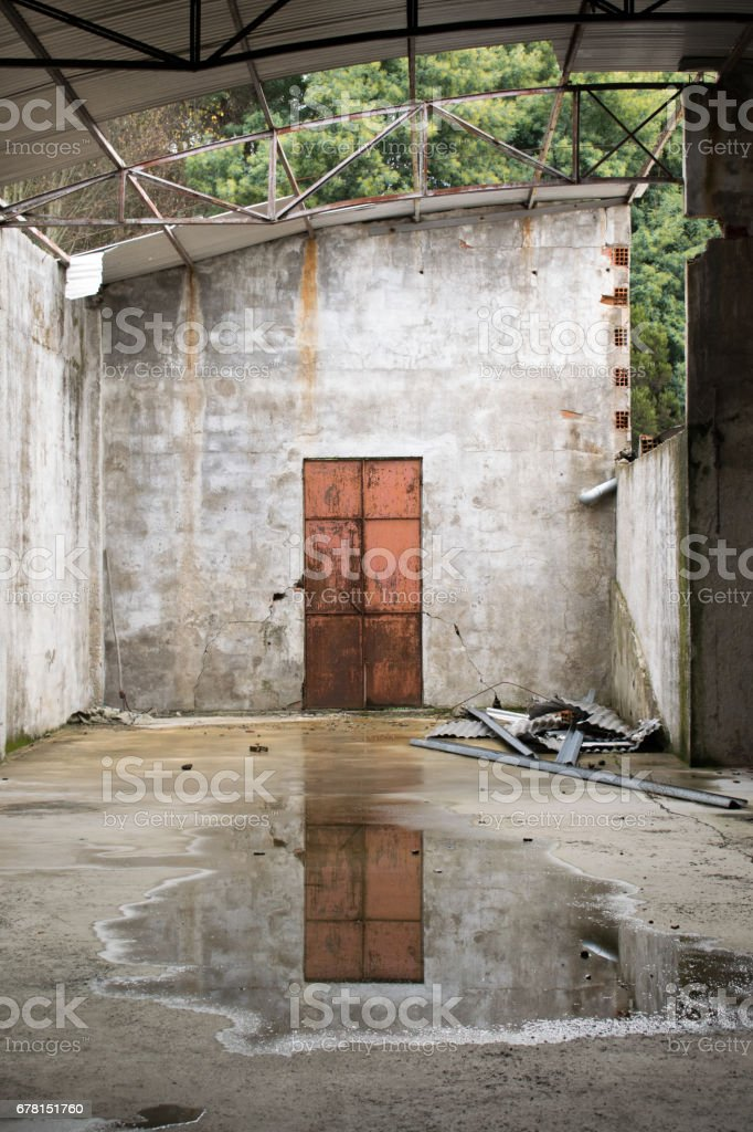 This photo was taken in an abandoned factory. stock photo