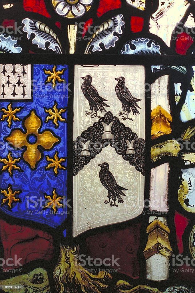 Heraldry heraldic rooks in English church stained glass stock photo