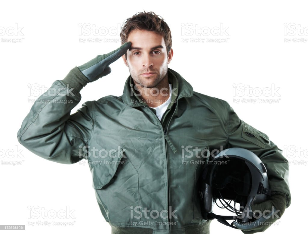 This pilot is giving you a proud and respectful salute stock photo