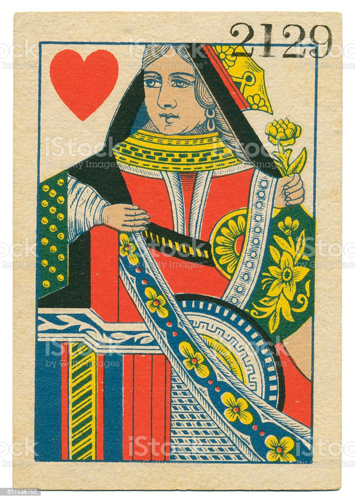 Queen of Hearts playing card standing court Belgium 1860 stock photo