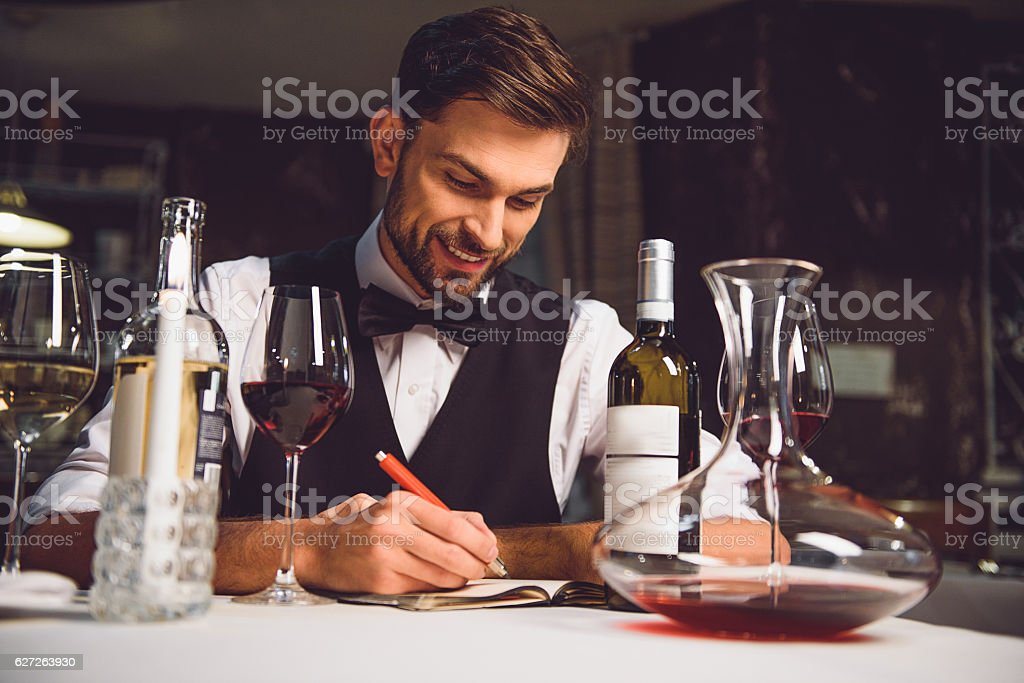 This red wine tastes well stock photo