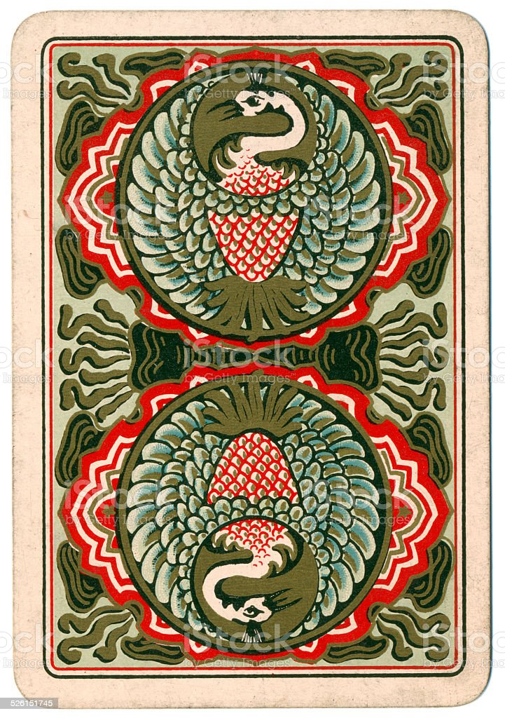 Card back design with crowned cranes reversible 19th century stock photo