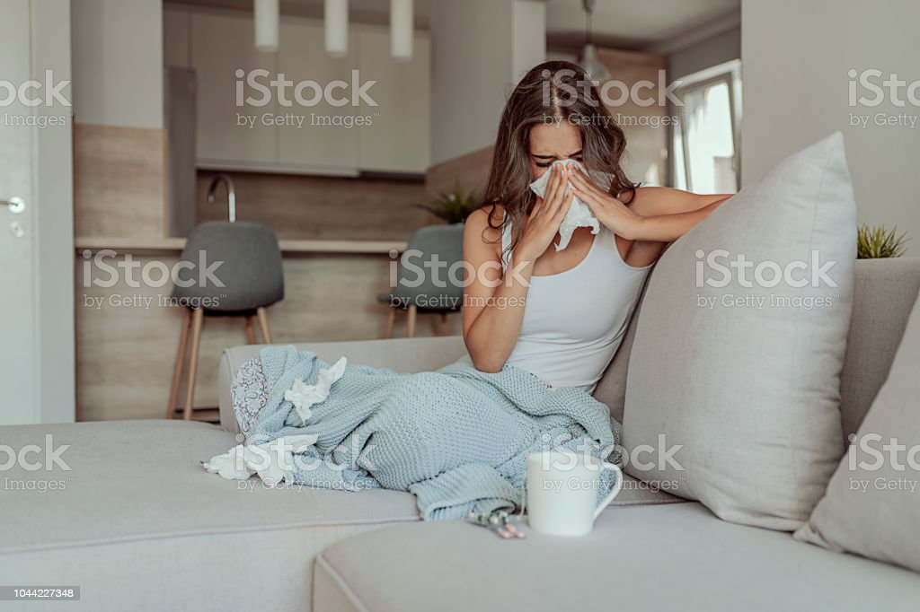 This runny nose is starting to ruin my day stock photo