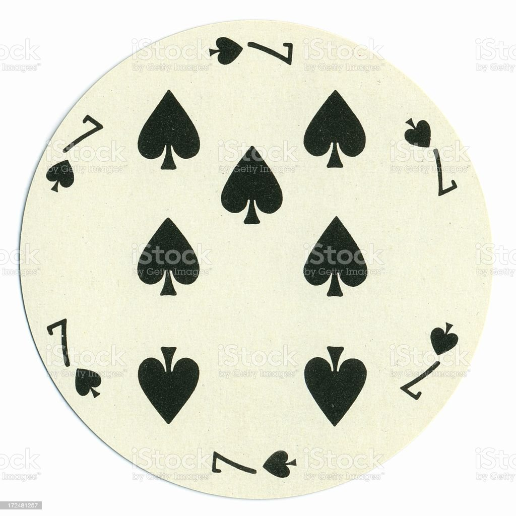 Round playing card seven of spades vector art illustration