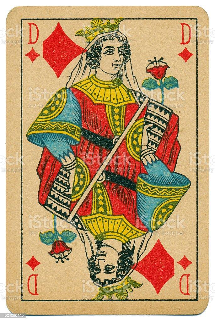 Stylish Dame Queen of Diamonds Biermans playing card Belgium 1910 stock photo