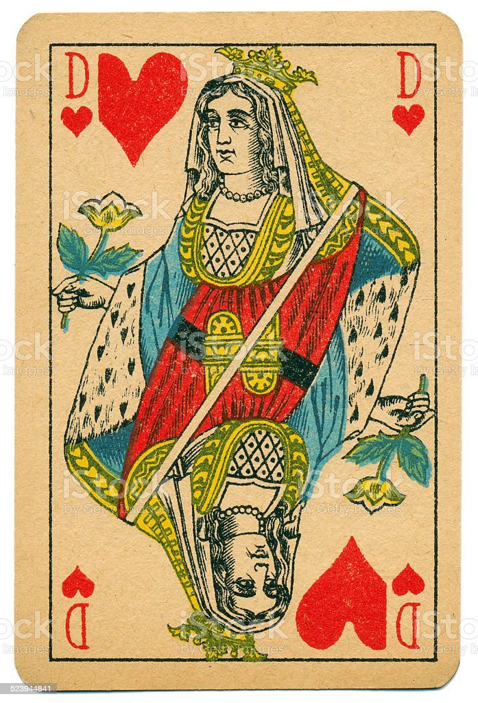 Stylish Dame Queen of Hearts Biermans playing card Belgium 1910 stock photo