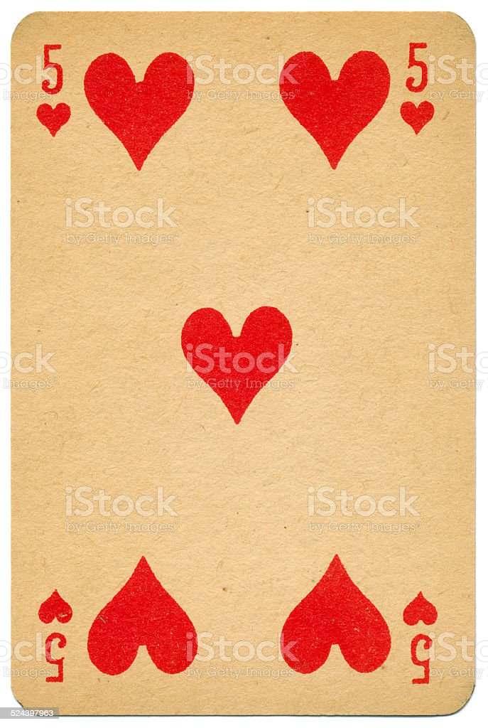 Stylish Five of Hearts Biermans playing card Belgium 1910 stock photo