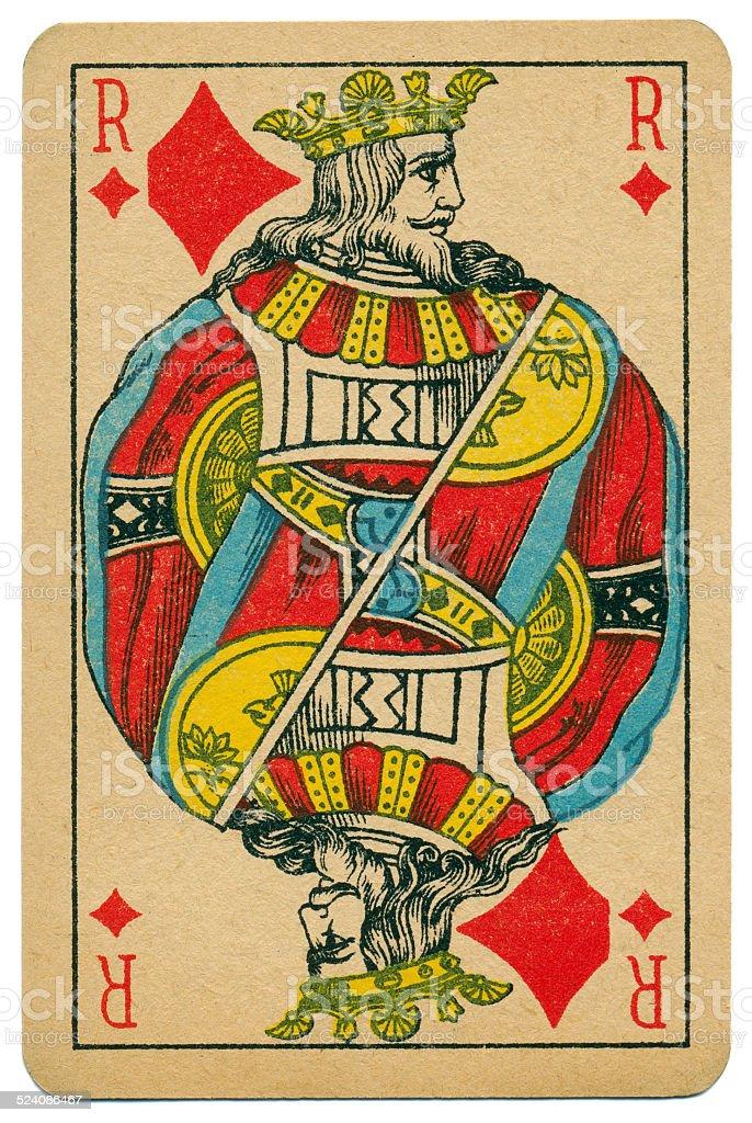 Stylish Roi King of Diamonds Biermans playing card Belgium 1910 stock photo