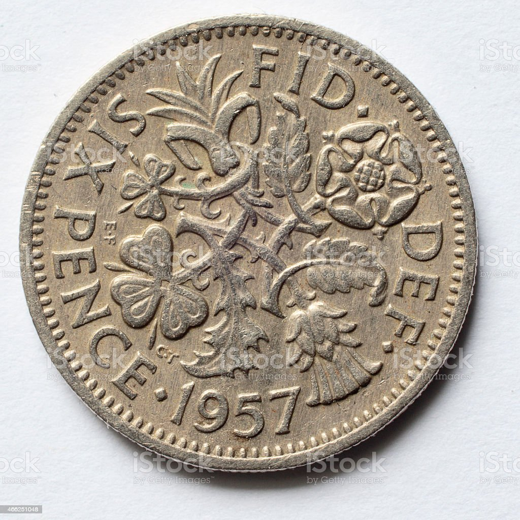 Silver sixpence 1957 Queen Elizabeth reverse stock photo