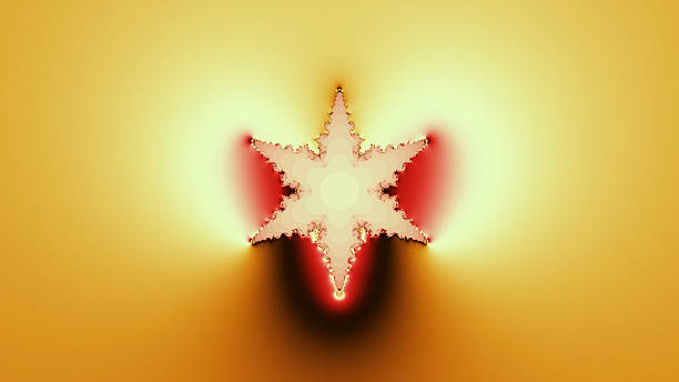 six-pointed star in red and orange fractal image - whiteway fractal stock photos and pictures