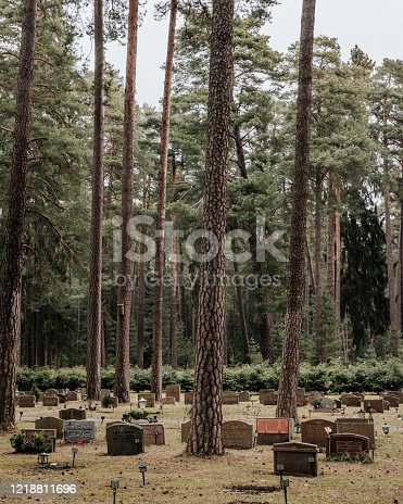 This Stockholm cemetery (The Woodland Cemetery) was created between 1917 and 1920 by two architects, Asplund and Lewerentz and was recently awarded UNESCO status for its nordic design. Skogskyrkogarden, Sweden – April 2019.