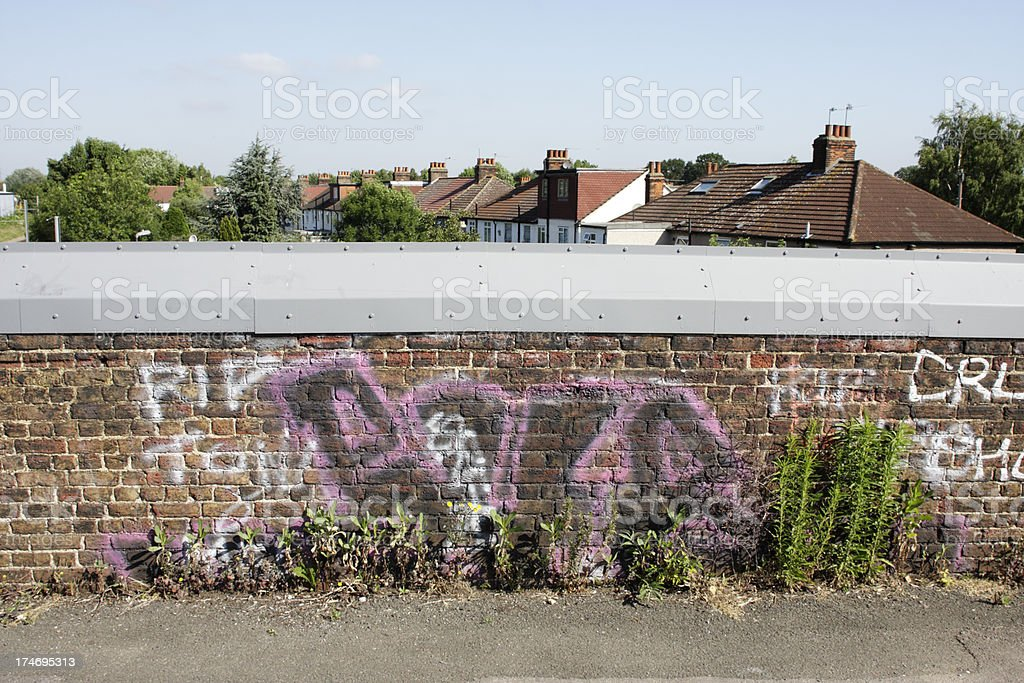 Graffiti and wildflowers by a bridge over tram lines stock photo