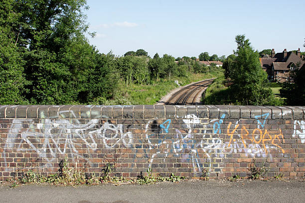 graffiti and wildflowers by a bridge over railway lines - whiteway graffiti stock photos and pictures