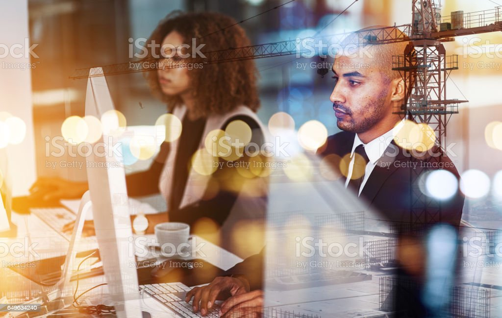 This team is doing big things together stock photo
