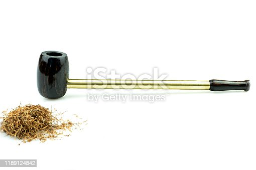 This Tobacco pipe is made from ebony at white background