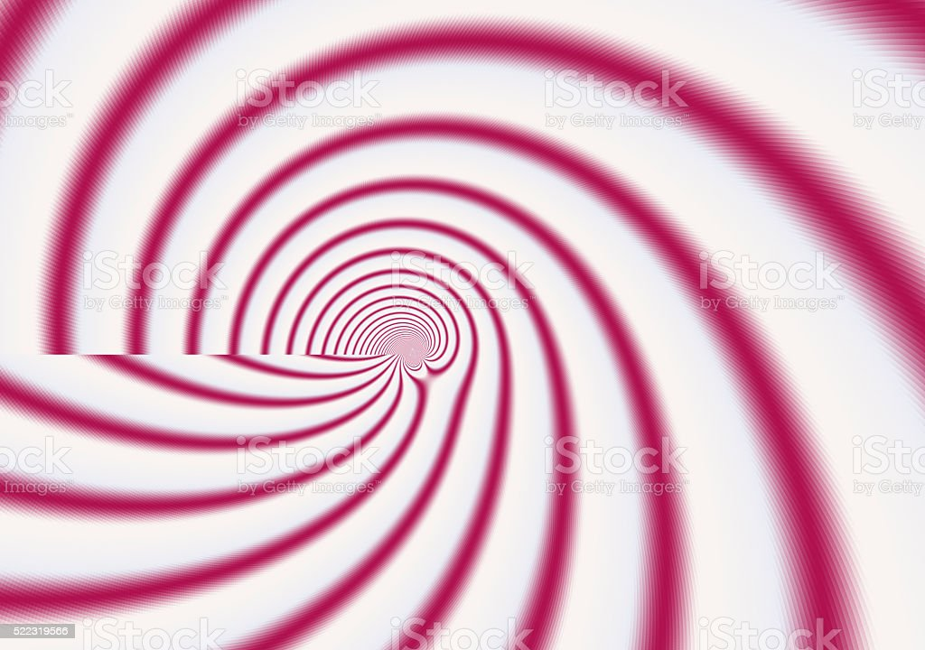 Red white candy stripe spiral perspective fractal stock photo