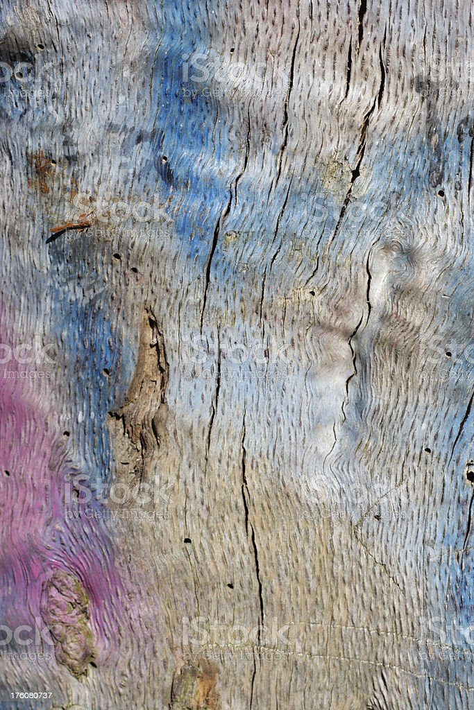 Weathered wood background with grain and graffiti paint stock photo