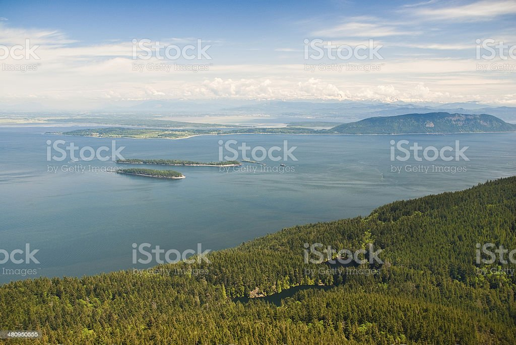 View of the San Juan Islands from Mount Constitution stock photo