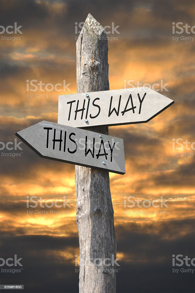 This way or that way signost stock photo
