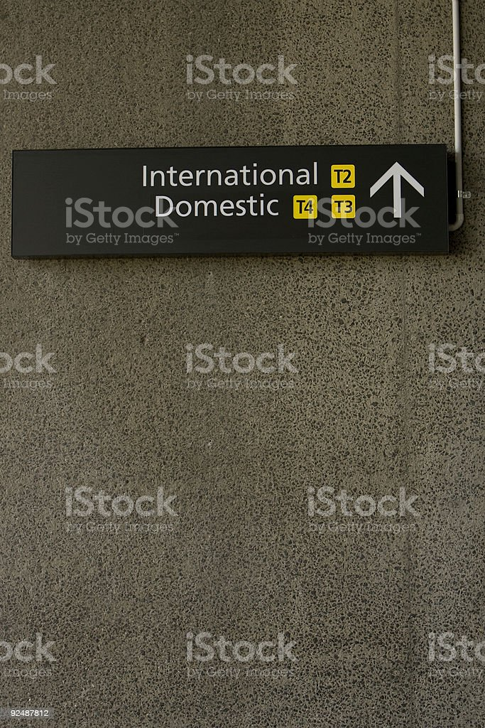 This way to international and domestic terminals royalty-free stock photo