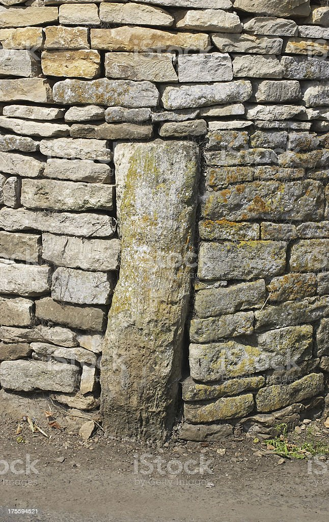 Construction massive cornerstone on Cotswold building royalty-free stock photo
