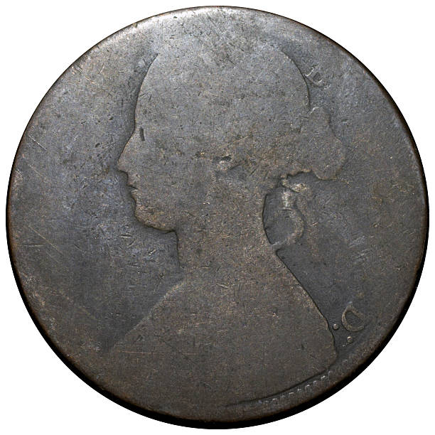 victorian penny (obverse) queen victoria - whiteway money stock photos and pictures