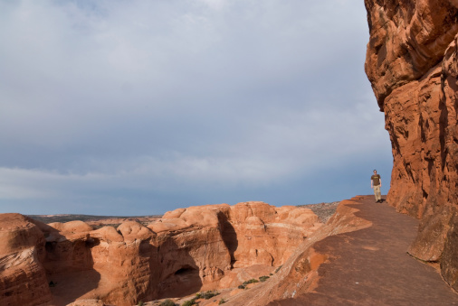 Hiking The Delicate Arch Ledge Trail Stock Photo - Download Image Now