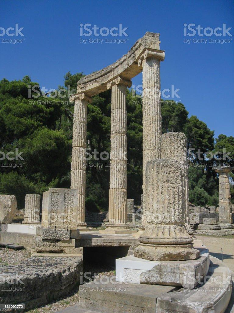 Tholos Olympia Greece stock photo