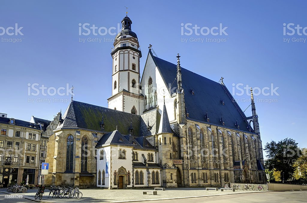 Thomas Church in Liepzig on a sunny morning stock photo