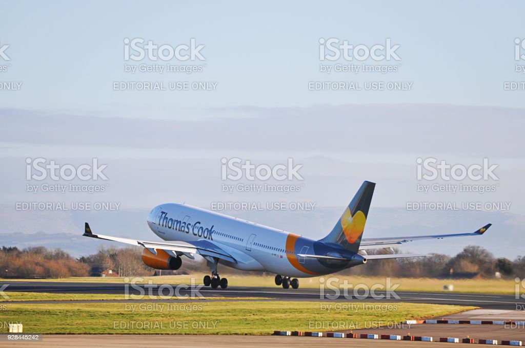 Thomas Cook Airlines A330 taking off from Manchester Airport, United Kingdom. stock photo