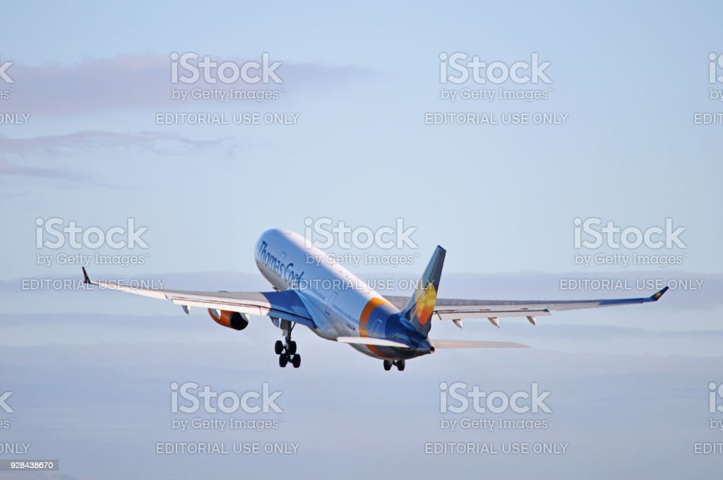 Thomas Cook Airlines Airbus A330 taking off from Manchester Airport, United Kingdom. stock photo