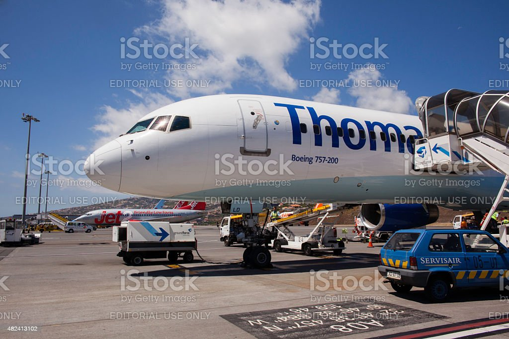 Thomas Cook Boeing 757-200 on the tarmac at Funchal airport stock photo