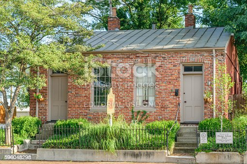 Louisville, Kentucky, USA - Aug 21 2016: Thomas Edison was thought to have rented a room in this house while he worked in Louisville Kentucky as a telegraph operator.