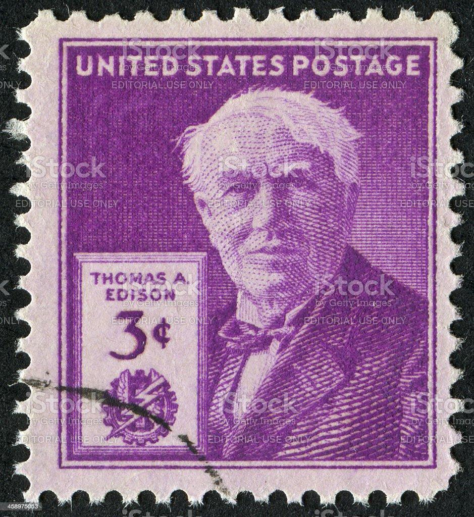 Thomas Edison Stamp stock photo