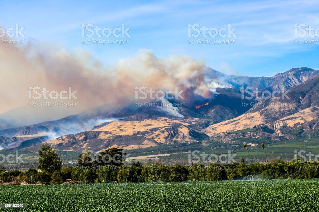 Thomas Fire Burning Above Fillmore Ventura County California stock photo