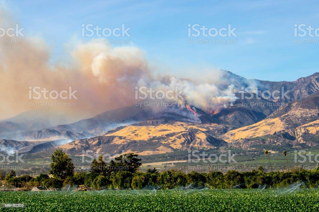 Thomas Fire Burning above Ventura County California stock photo