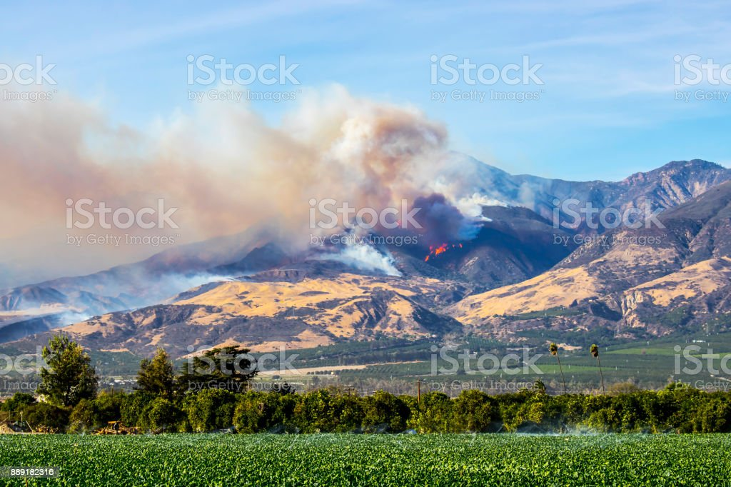 Thomas Fire Burning in Mountains Above City of Fillmore in Ventura County California stock photo