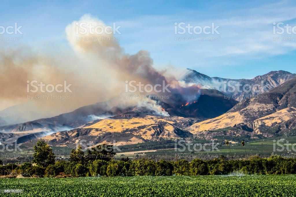 Thomas Fire Burns Above Fillmore Ventura County California stock photo