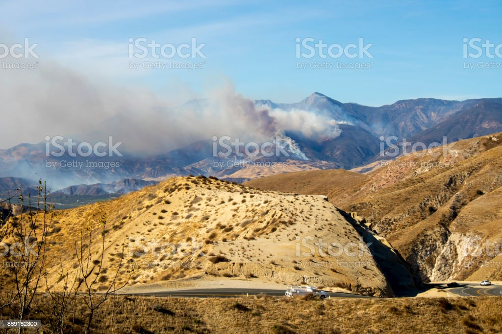 Thomas Fire Burns Mountains in Ventura County stock photo