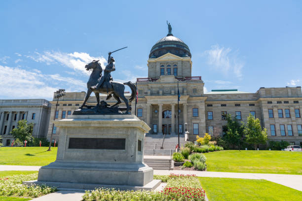 Thomas Francis Meagher Statue at the Montana State Capital stock photo
