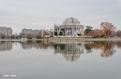 istock Thomas Jefferson Memorial reflecting in Tidal Basin 1298473835