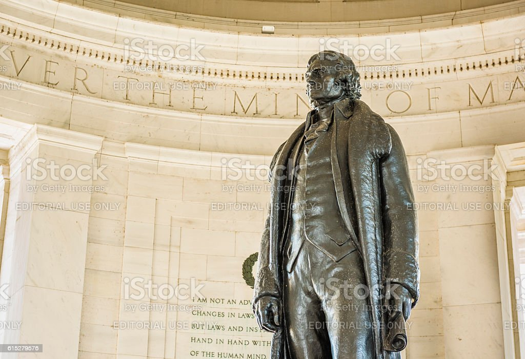 Thomas Jefferson Memorial with bronze statue stock photo