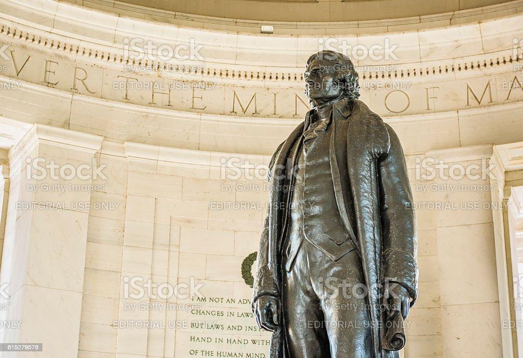 Thomas Jefferson Memorial with bronze statue stock photo