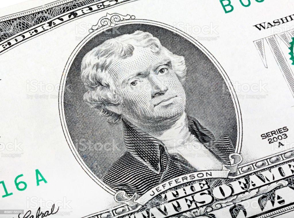 Thomas Jefferson. Qualitative portrait from 2 lucky dollars bill stock photo