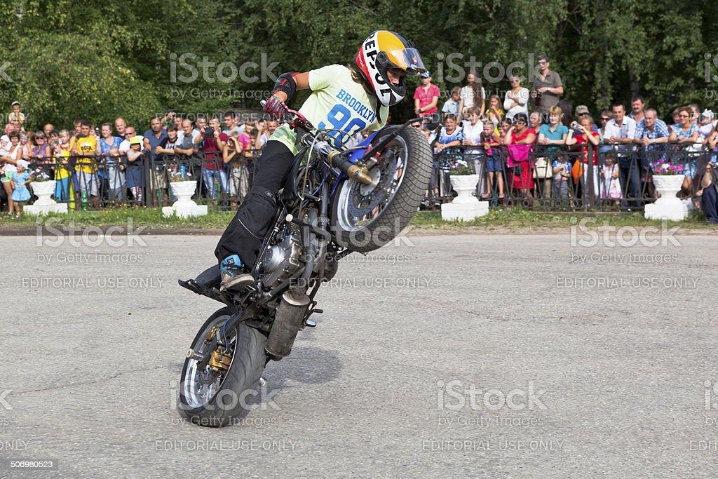 Thomas Kalinin Moto show in the village Verkhovazhye, Vologda region royalty-free stock photo