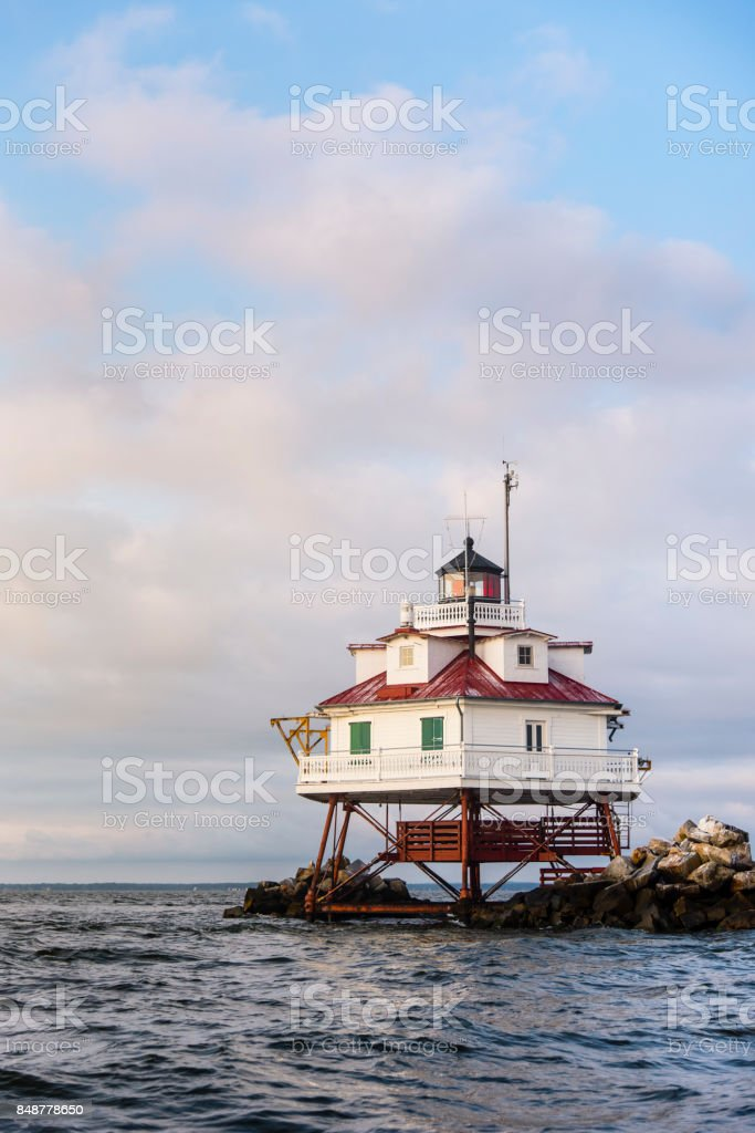 Thomas Point Lighthouse in the Chesapeake Bay stock photo