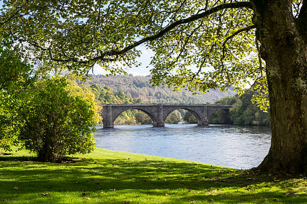 Thomas Telford Bridge, Dunkeld, Scotland stock photo